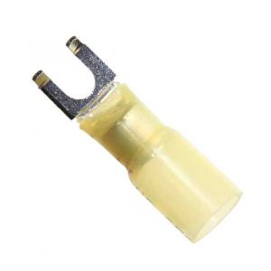 12-10 GA Flanged Spade Terminal, Heat Shrink Insulated, #6 Stud
